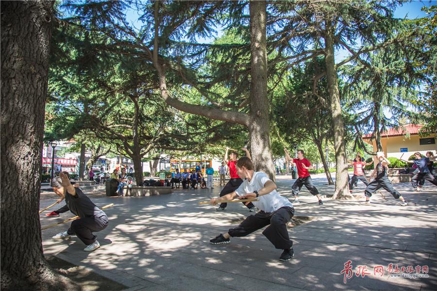 12名德国青年情迷中国功夫 来青学习太极棍