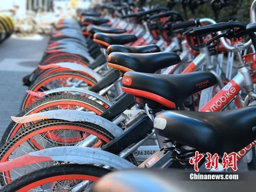 资料图:成排的摩拜单车在路边停放。<a target='_blank' href='http://www.chinanews.com/' >中新网</a>吴涛摄