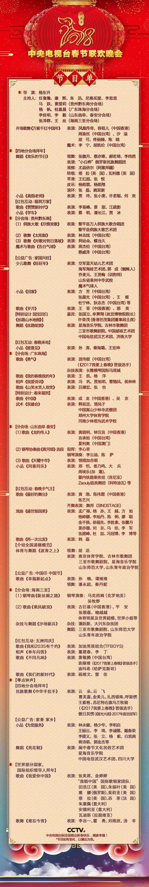 中央電視臺春節聯歡晚會節目單 - 青島新聞網圖片