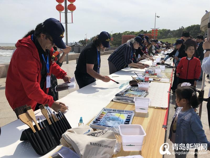 画嗨了!近百位中外艺术家水彩共绘时尚青岛