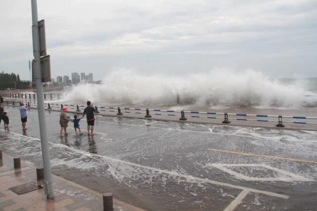 """台风""""利奇马""""逼近青岛掀巨浪,游客惊险观浪被吓得尖叫"""