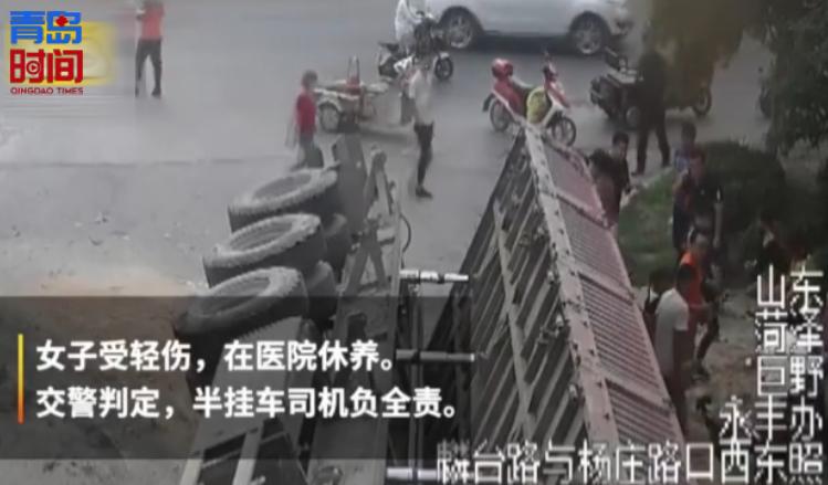 """青島時間 驚人!運沙車""""側翻""""壓扁轎車 司機埋土里死亡"""