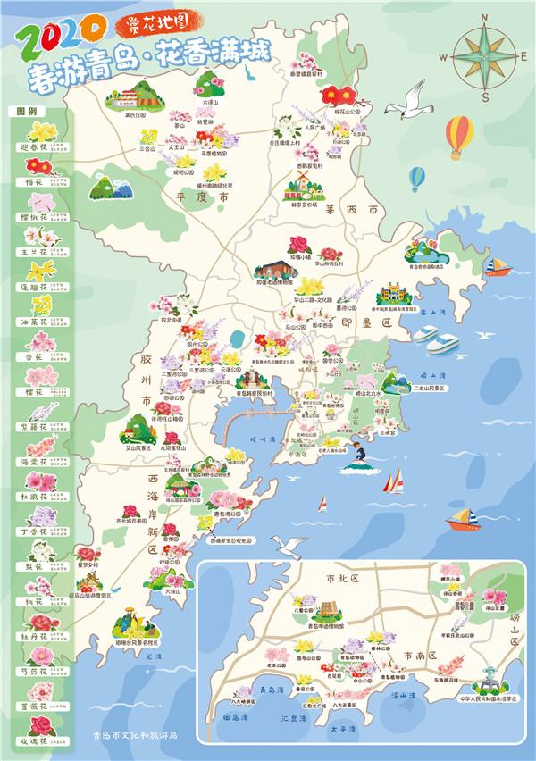 手绘赏花地图+6条赏花线路 春游青岛约起来