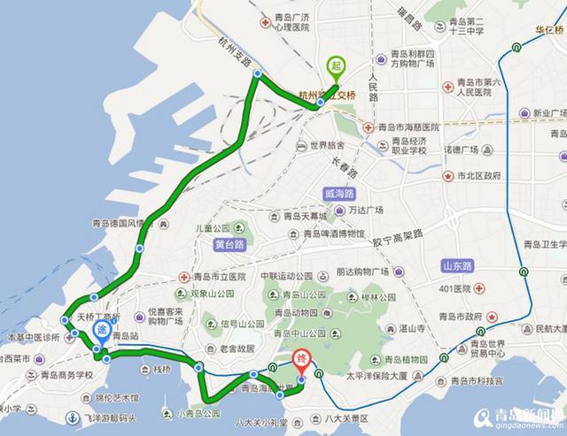中山公园至青岛长途汽车站(途经青岛火车站)的旅游