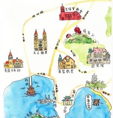 手绘地图给来青岛的亲们